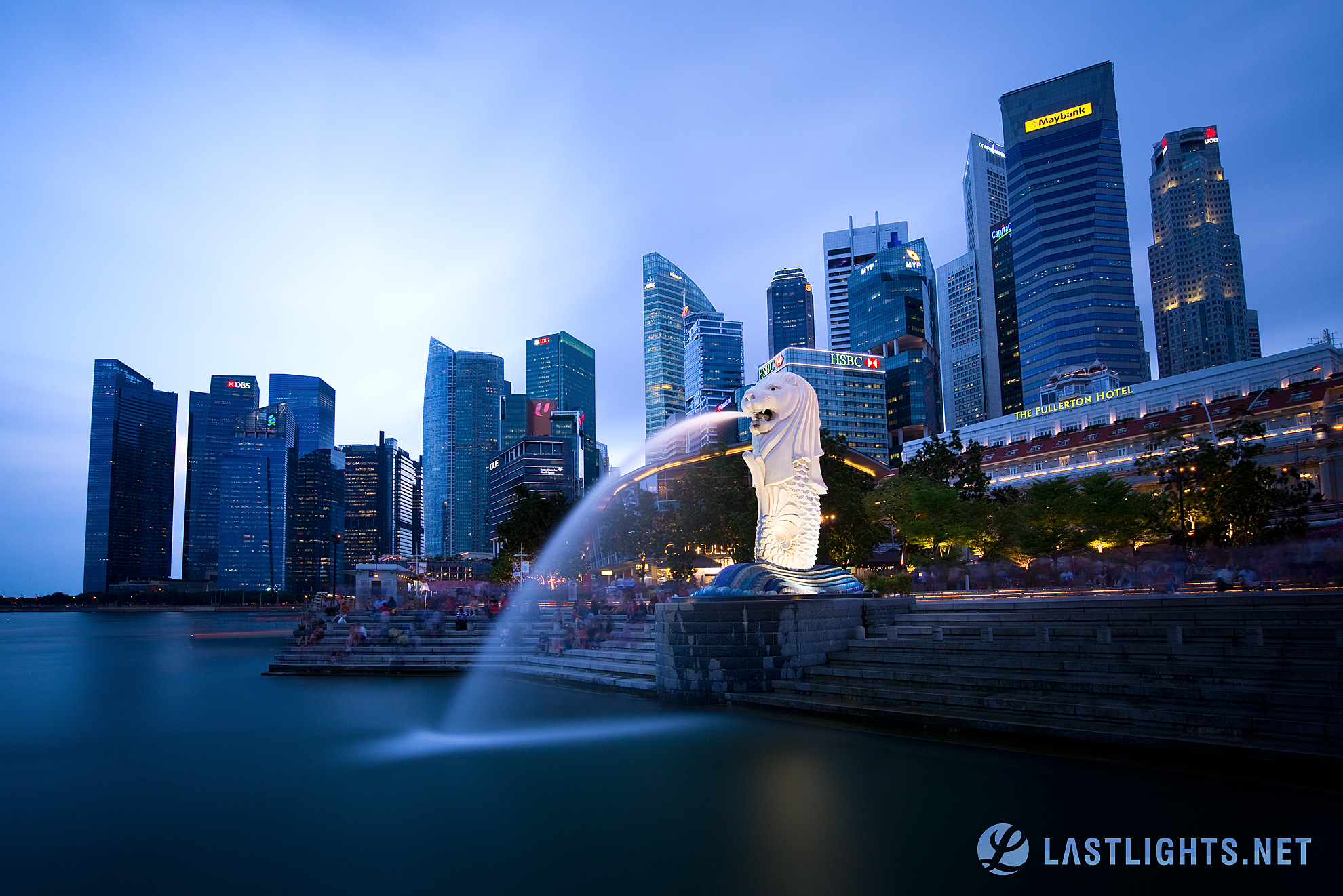 Singapore Skyline with Merlion